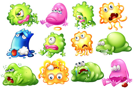 Illustration of the sad and dying monsters on a white background Vector