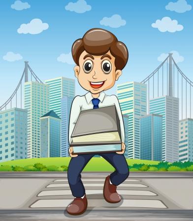employ� heureux: Illustration d'un employ� heureux de traverser la rue avec un grand nombre de documents dans ses mains Illustration