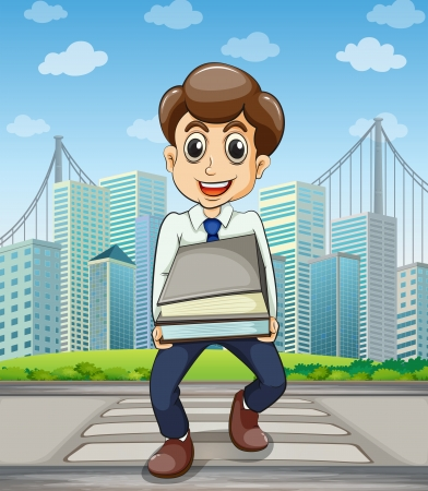 establishments: Illustration of a happy employee crossing the street with a lot of documents in his hands