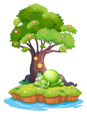 sea creature: Illustration of a monster sleeping under the treehouse in the island on a white background Illustration