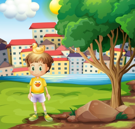 Illustration of a boy with a rubber duck above his head standing near the tree Vector