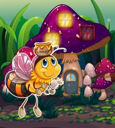 Illustration of a flying bee near the enchanted mushroom house Stock Vector - 23184981
