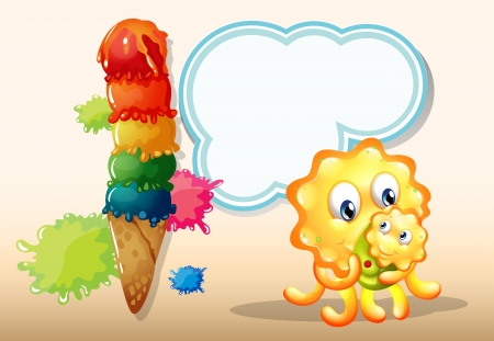 Illustration of a mother monster with her baby near the big icecream Vector