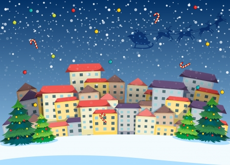 Illustration of a village with christmas trees Vector