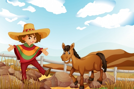 Illustration of a man and a horse near the rocks Vector
