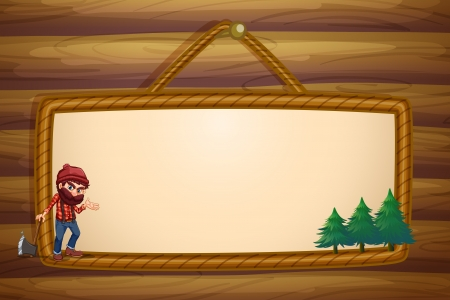pine three: Illustration of a hanging frame with a lumberjack and three pine trees