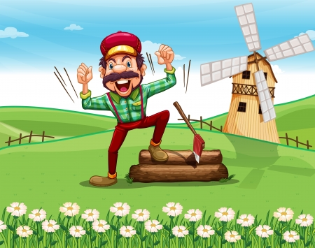 barnhouse: Illustration of a woodman shouting at the top of the hill