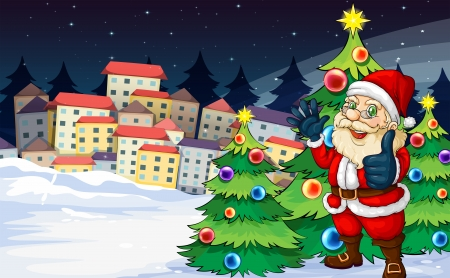Illustration of Santa Claus standing beside the Christmas trees near the village Vector