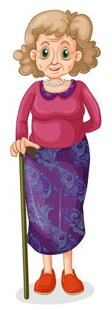Illustratie van een mooie oma op een witte achtergrond