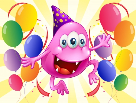 Illustration of a pink beanie monster in the middle of the balloons on a white background Vector