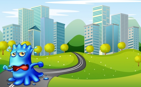 Illustration of a monster running at the road near the buildings Vector