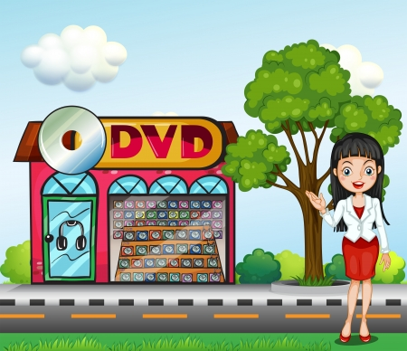 cemented: Illustration of a girl in front of the dvd store Illustration