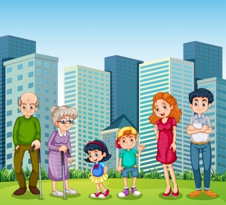 old family: Illustration of a family with the grandparents in front of the building