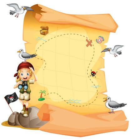 schatkaart: Illustratie van een schatkaart en een jong meisje met een telescoop op een witte achtergrond