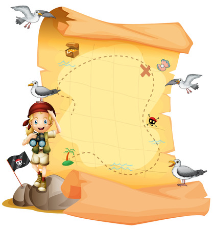 Illustration of a treasure map and a young girl holding a telescope on a white background Ilustração