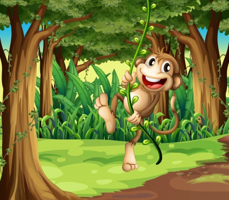 cartoon monkey: Illustration of a monkey playing with the vine trees in the middle of the forest