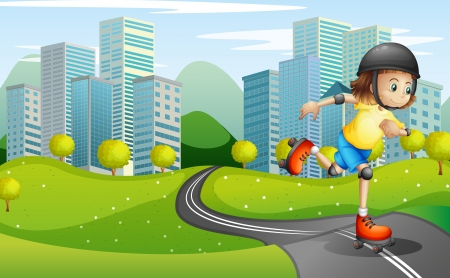 establishments: Illustration of a girl rollerskating at the road with a safety helmet Illustration