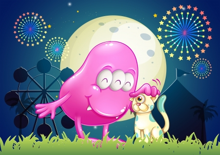 Illustration of a carnival with a monster and a pet Stock Vector - 23185016