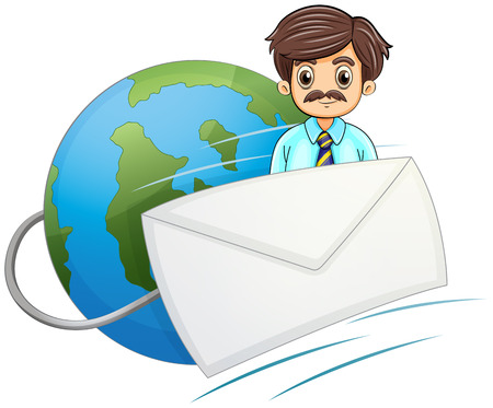 Illustration of an envelope in front of the businessman with a mustache on a white background Vector