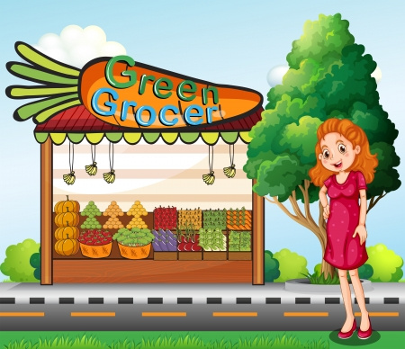 Illustration of a woman in front of the green grocery stall Vector