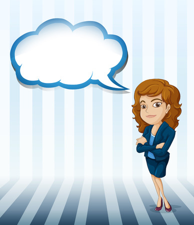 callout: Illustration of a woman with an empty cloud callout on a white background