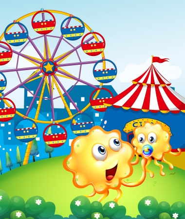 Illustration of a baby monster with her mother at the hilltop with a carnival Vector