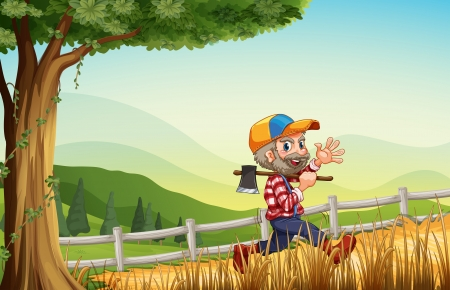 Illustration of a woodman walking at the hill happily Vector