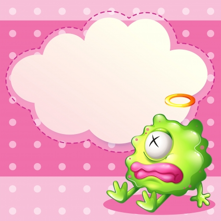 pinkish: Illustration of a sick green monster in front of the empty cloud template Illustration