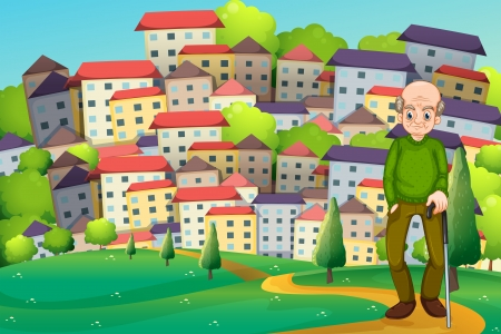 hilltop: Illustration of a grandfather at the hilltop across the village