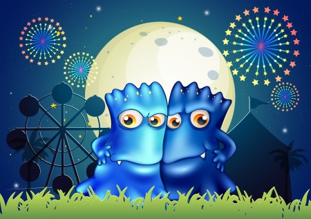 Illustration of the two blue monsters holding each other at the park Vector