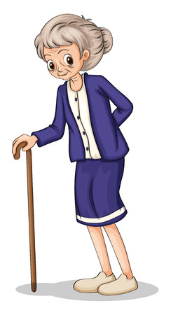 Illustration of an old woman using a wooden cane on a white background Vector