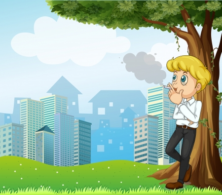 cigars: Illustration of a boy smoking under the tree across the buildings