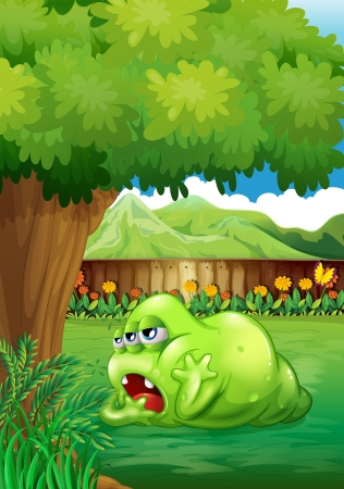 Illustration of a tired green monster near the tree Vector