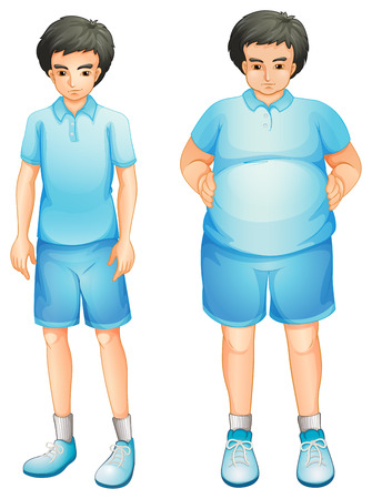 fat to thin: Ilustration of a thin and a fat boy in a blue gym uniform on a white background