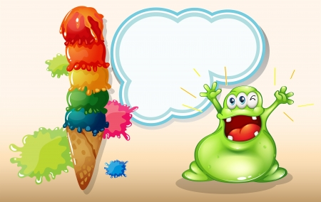 Illustration of a fat green monster shouting near the giant icecream Vector