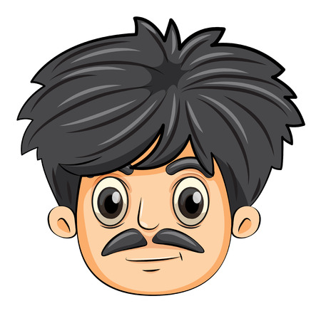 alone boy: Illustration of a head of a man with a mustache on a white background Illustration