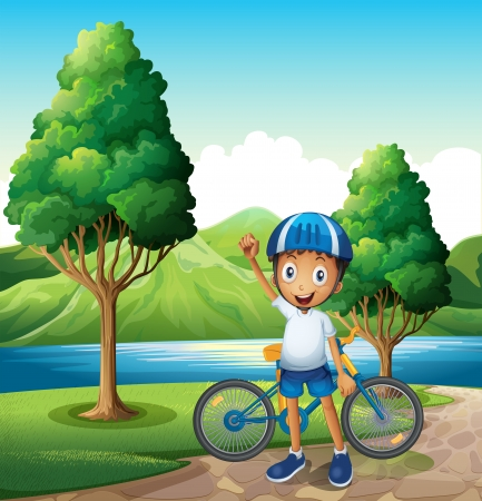 riverbank: Illustration of a smiling young boy at the riverbank with his bike
