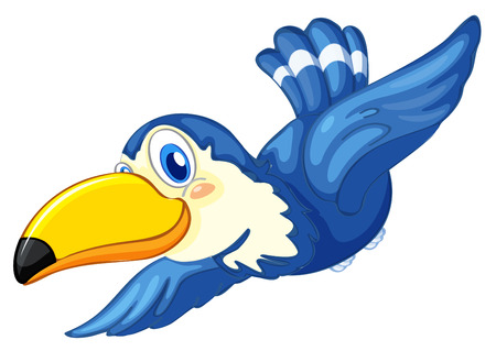 Illustration of a blue bird on a white background Vector