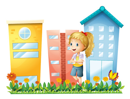 condominium: Illustration of a girl in front of the buildings with a garden on a white background