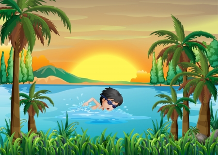 swimming goggles: Illustration of a boy swimming at the lake Illustration