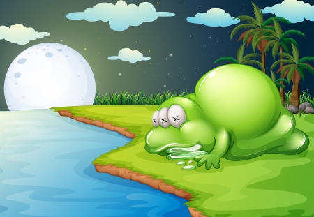 Illustration of a monster sleeping near the river Illustration