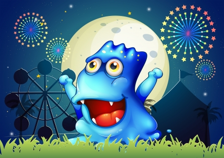 Illustration of a blue monster strolling at the carnival in the middle of the night Vector