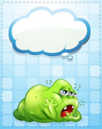 Illustration of a tired three-eyed green monster with an empty callout Vector