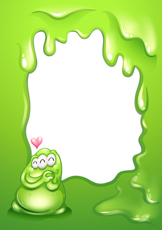Illustration of a border template with a green monster and a heart Vector