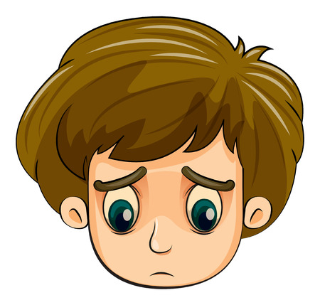 alone boy: Illustration of a head of a sad young boy on a white background