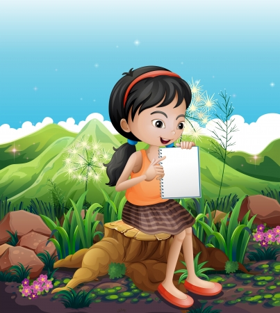 Illustration of a girl sitting above a stump with a notebook Vector