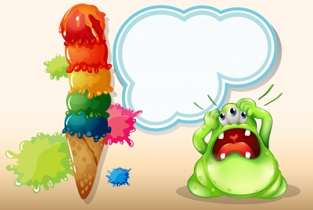 Illustration of a monster with a headache standing near the giant icecream Vector