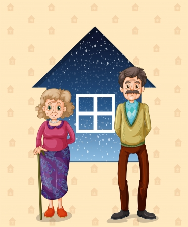 Illustration of the grandparents in front of the small house Vector