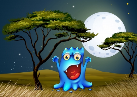 Illustration of a monster near the tree under the bright fullmoon Vector