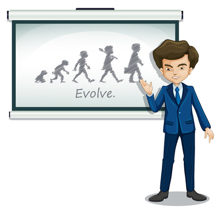 formal attire: Illustration of a gentleman explaining the evolution of humans on a white background Illustration